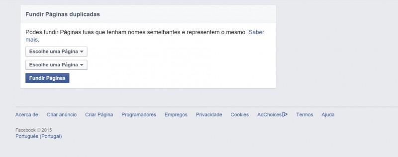 Posso fundir Páginas do Facebook?