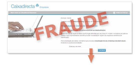 CGD – Ecrãs fraudulentos de atualização de dados de identificação
