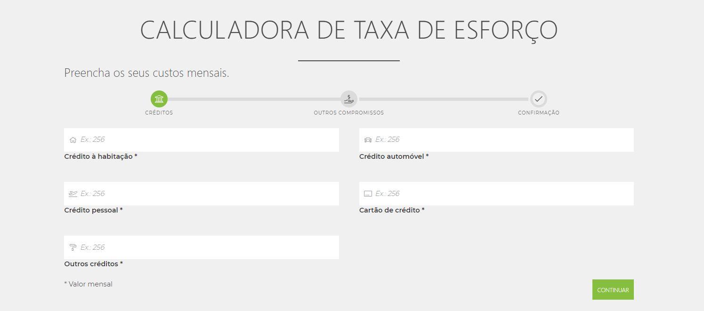 Calculadora Taxa de Esforço